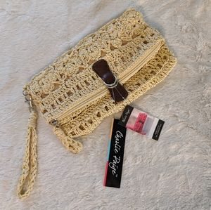 Charlie Paige Woven Straw Wristlet NWT